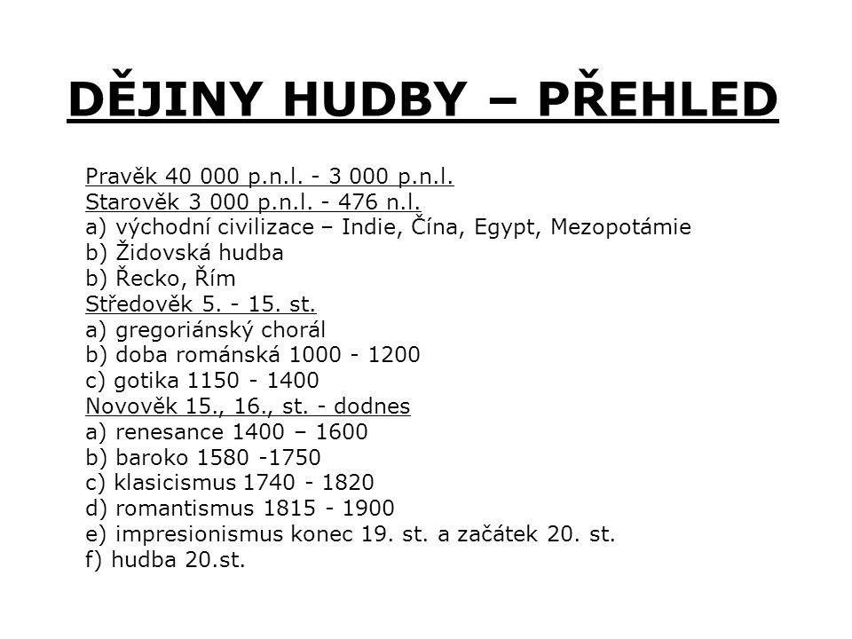 DĚJINY HUDBY – PŘEHLED Pravěk 40 000 p.n.l. - 3 000 p.n.l.