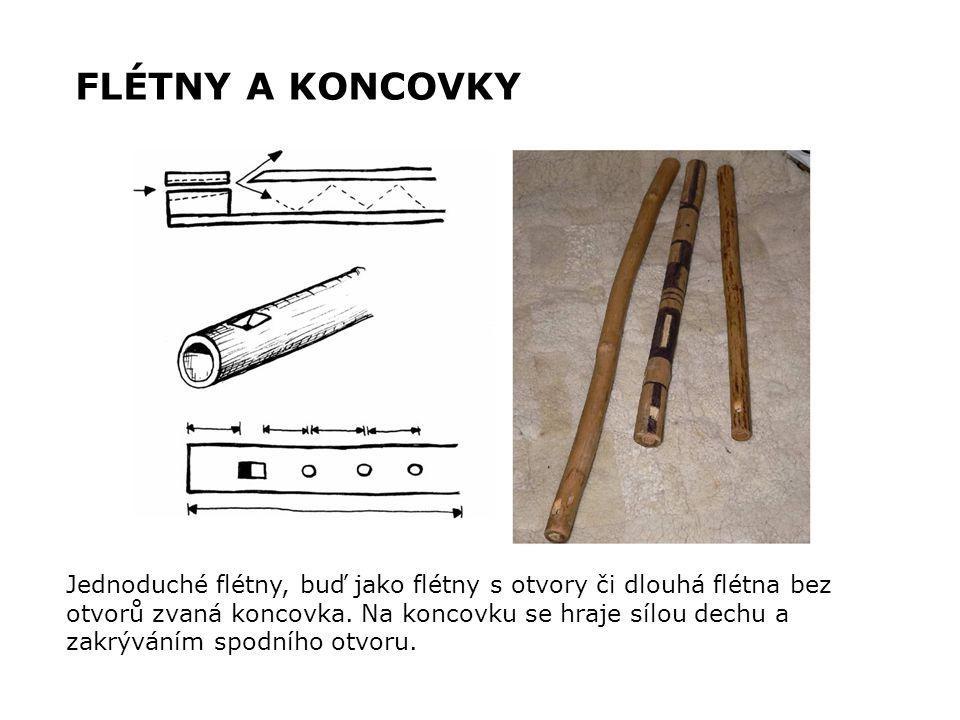 FLÉTNY A KONCOVKY Jednoduché flétny, buď jako flétny s otvory či dlouhá flétna bez. otvorů zvaná koncovka. Na koncovku se hraje sílou dechu a.