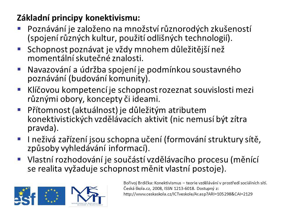 Základní principy konektivismu: