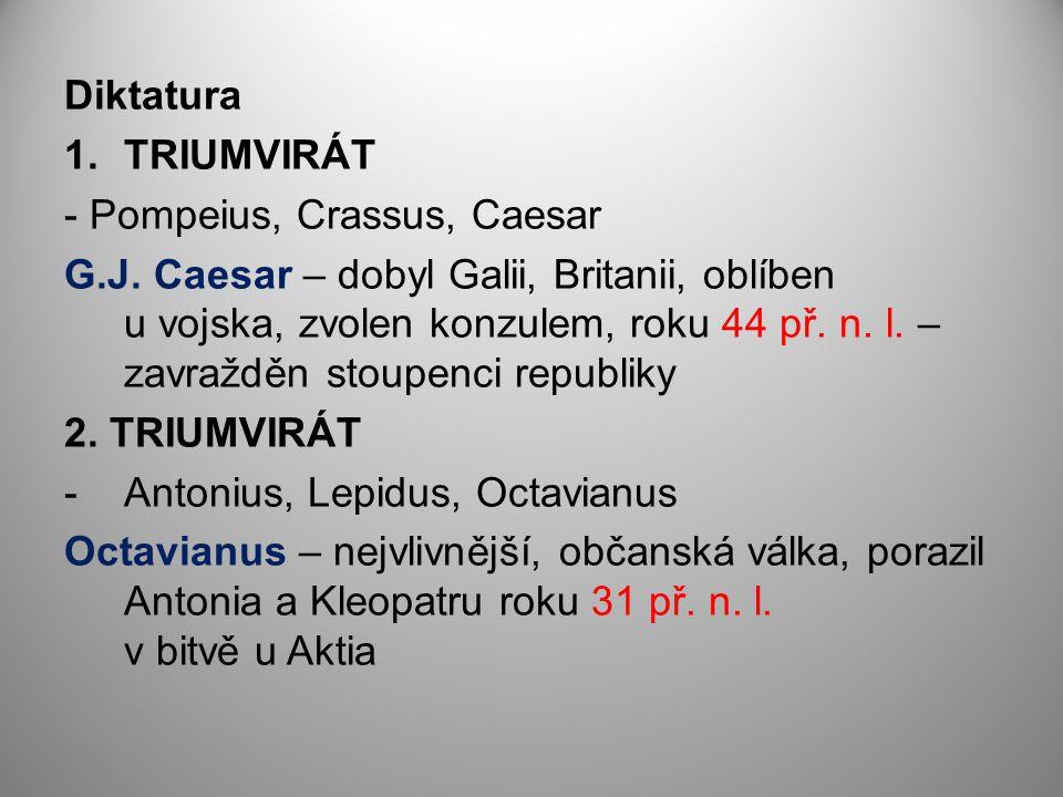 Diktatura TRIUMVIRÁT. - Pompeius, Crassus, Caesar.