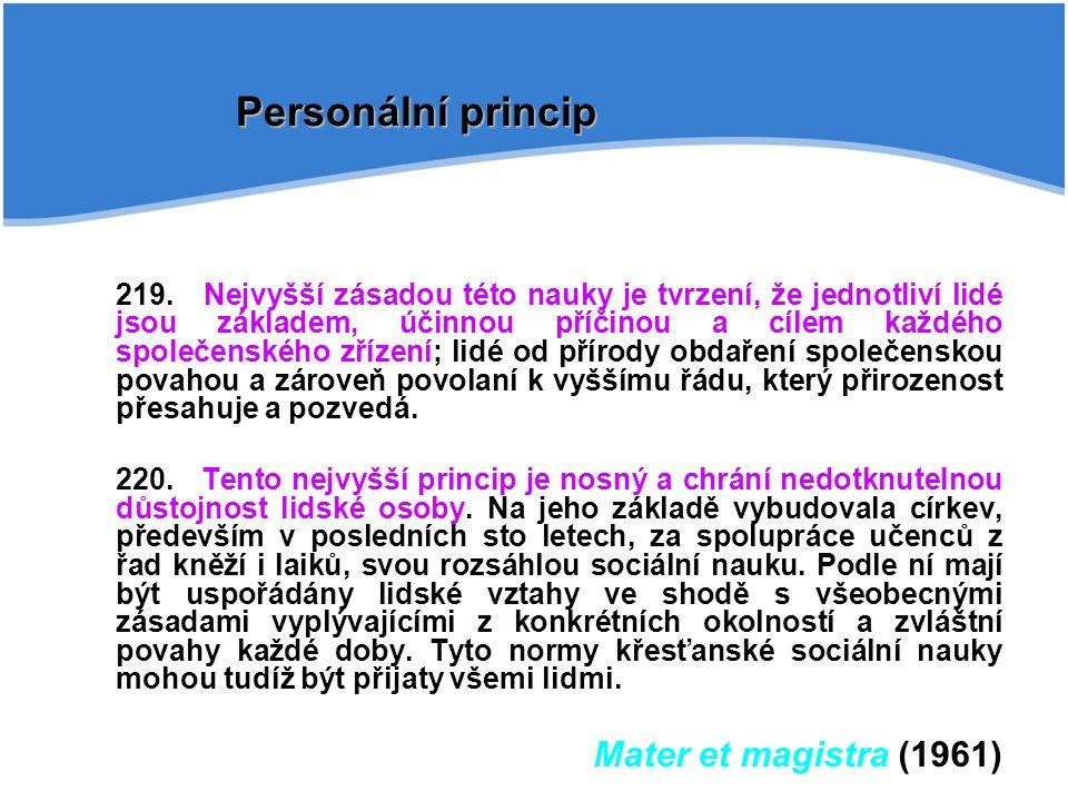 Personální princip Mater et magistra (1961)