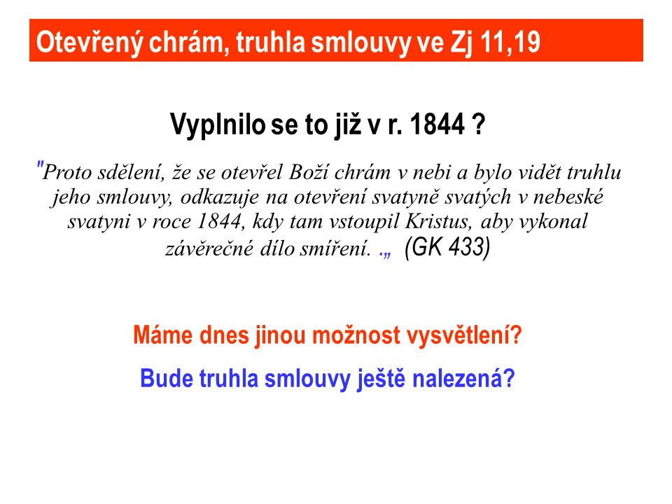 Otevřený chrám, truhla smlouvy ve Zj 11,19