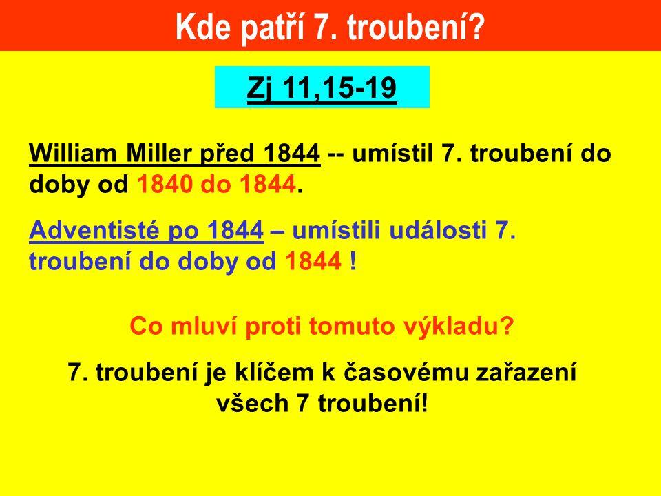 Kde patří 7. troubení Zj 11,15-19. William Miller před 1844 -- umístil 7. troubení do doby od 1840 do 1844.