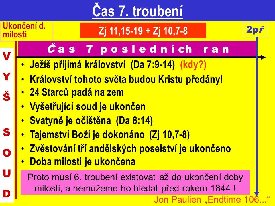 Čas 7. troubení Ukončení d. milosti. Zj 11,15-19 + Zj 10,7-8. 2př. Č a s 7 p o s l e d n í ch r a n.