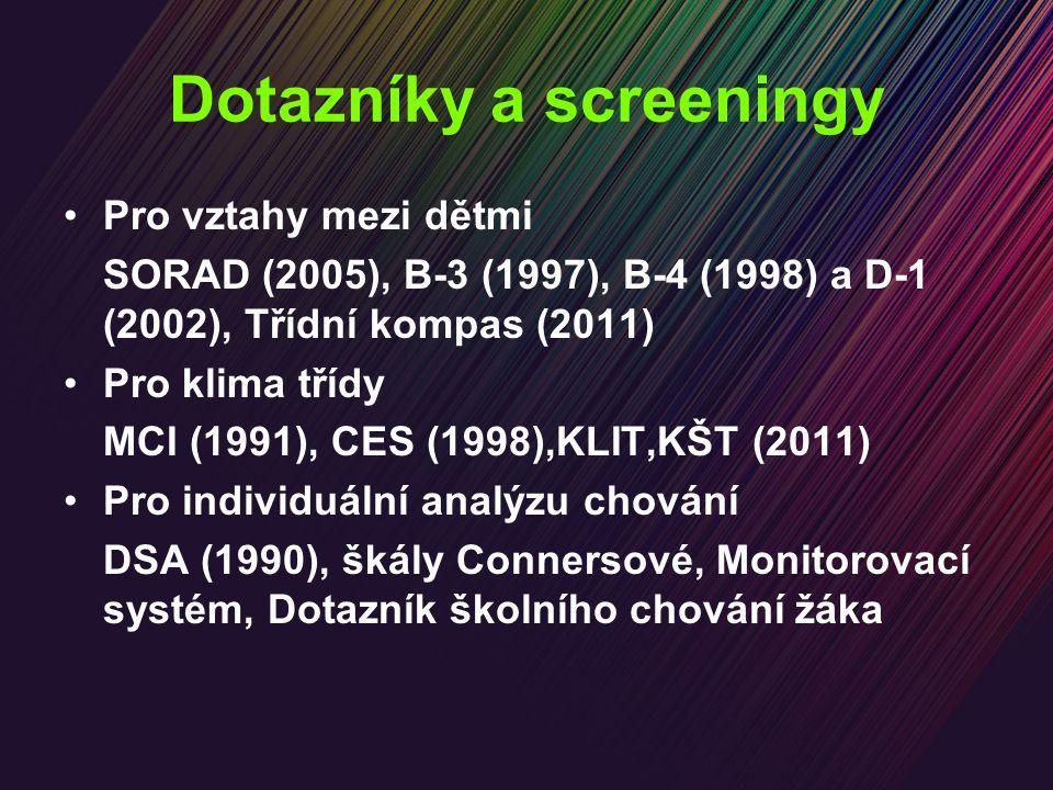 Dotazníky a screeningy