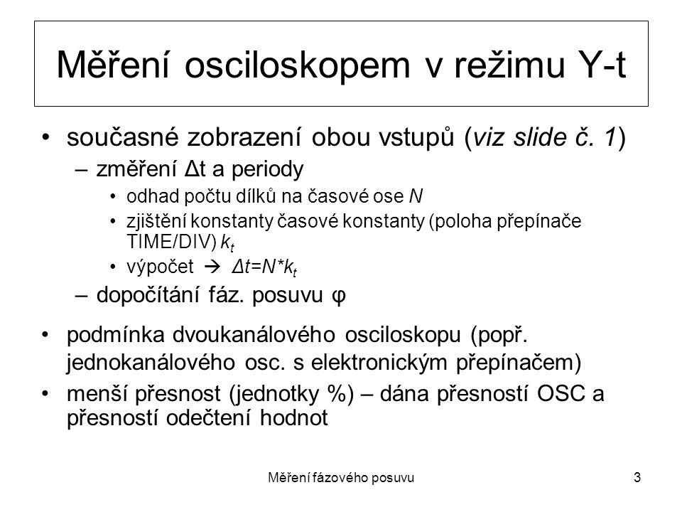 Měření osciloskopem v režimu Y-t