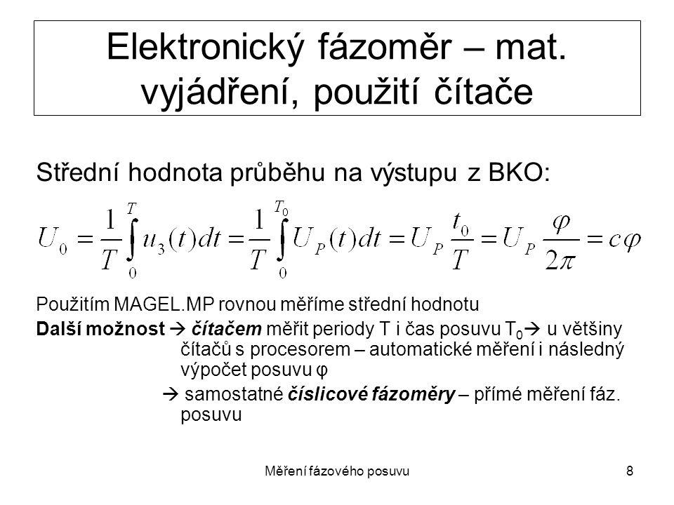 Elektronický fázoměr – mat. vyjádření, použití čítače