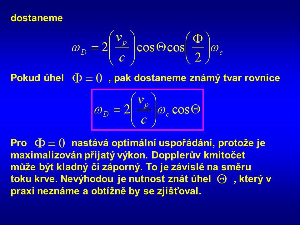 dostaneme Pokud úhel , pak dostaneme známý tvar rovnice. Pro nastává optimální uspořádání, protože je.