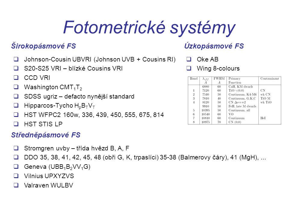 Fotometrické systémy Širokopásmové FS Úzkopásmové FS Středněpásmové FS