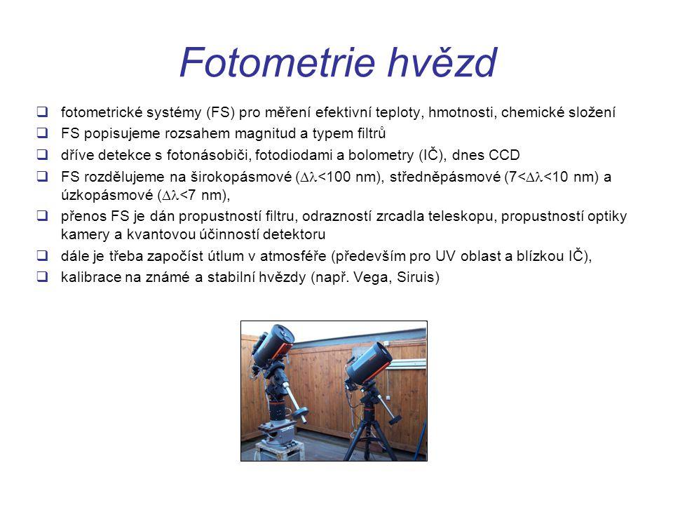 Fotometrie hvězd fotometrické systémy (FS) pro měření efektivní teploty, hmotnosti, chemické složení.