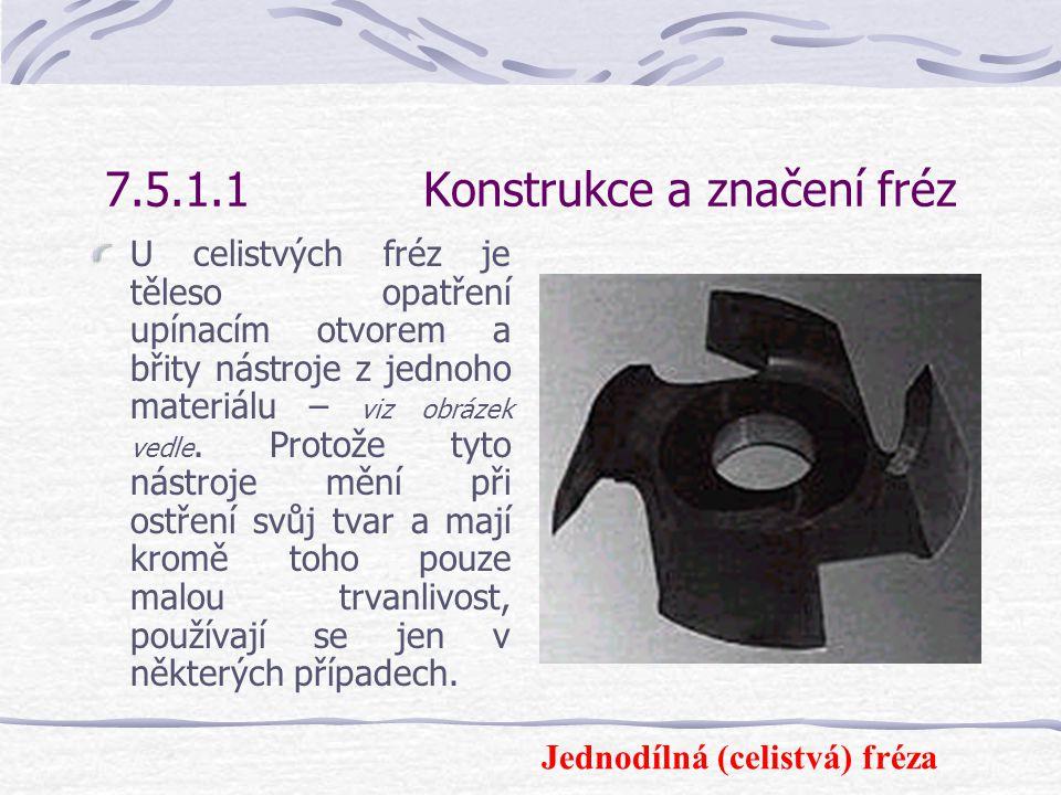 7.5.1.1 Konstrukce a značení fréz