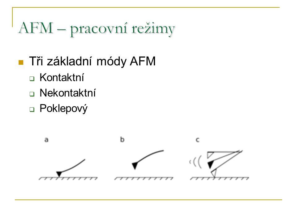 AFM – pracovní režimy Tři základní módy AFM Kontaktní Nekontaktní