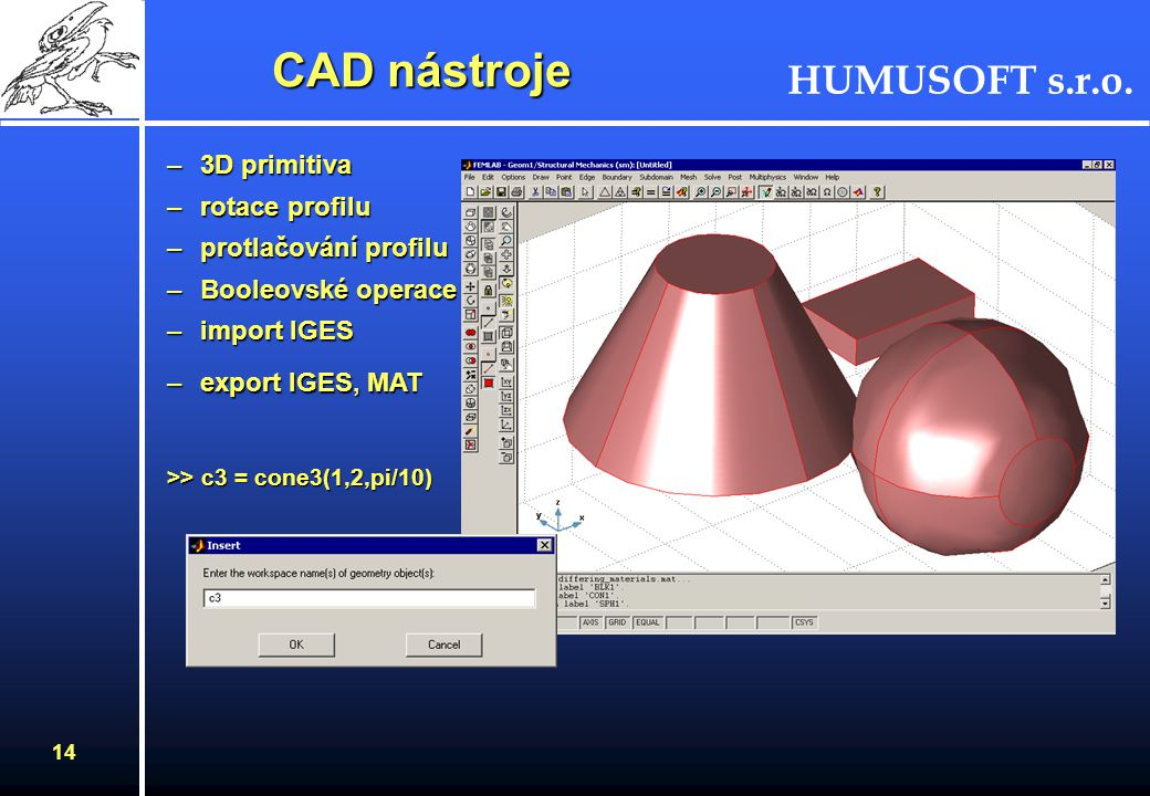 CAD nástroje 3D primitiva rotace profilu protlačování profilu
