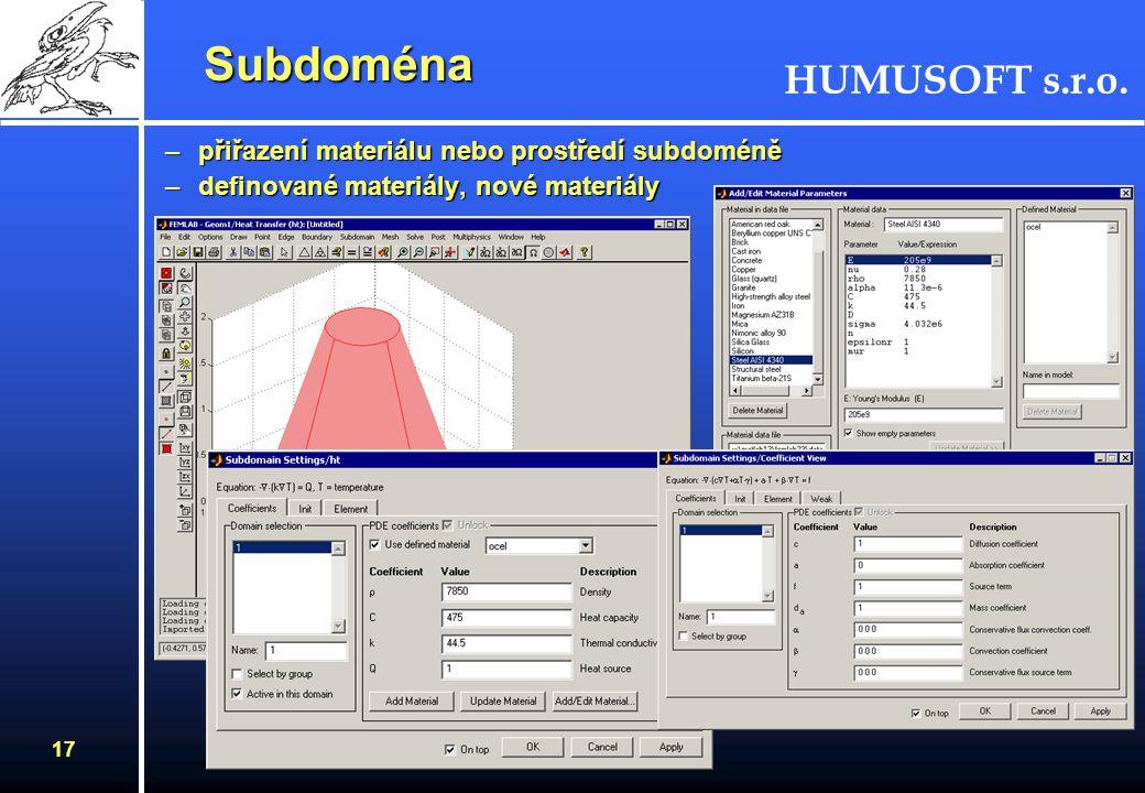 Subdoména přiřazení materiálu nebo prostředí subdoméně