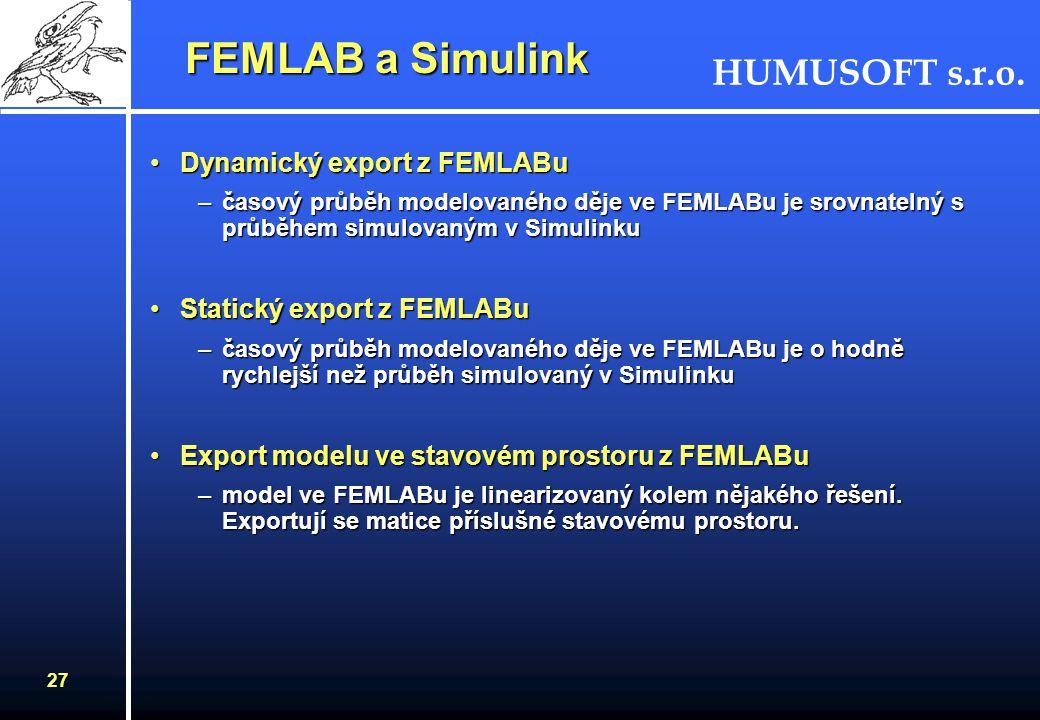 FEMLAB a Simulink Dynamický export z FEMLABu Statický export z FEMLABu