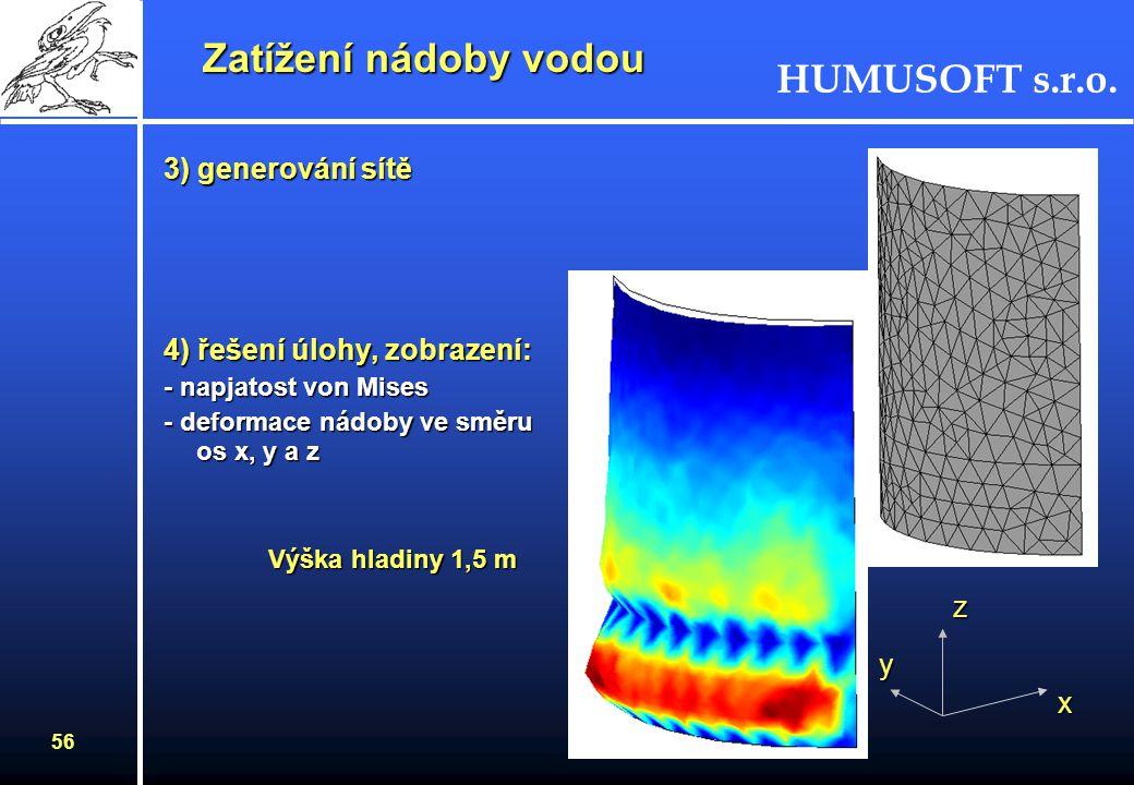 Zatížení nádoby vodou 3) generování sítě 4) řešení úlohy, zobrazení: z