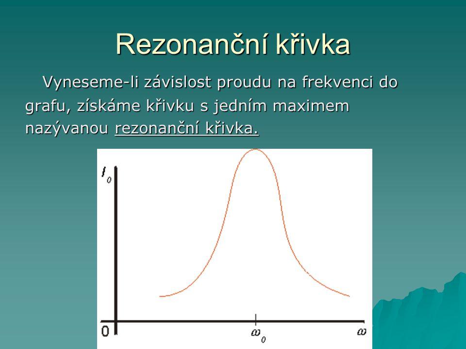 Rezonanční křivka Vyneseme-li závislost proudu na frekvenci do