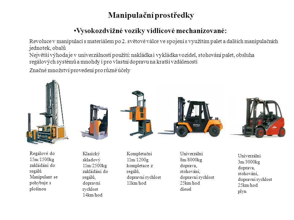 Manipulační prostředky Vysokozdvižné vozíky vidlicové mechanizované: