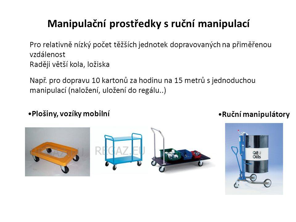 Manipulační prostředky s ruční manipulací Plošiny, vozíky mobilní