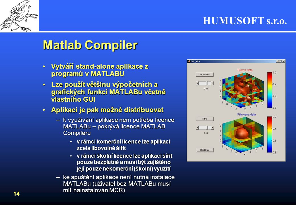 Matlab Compiler Vytváří stand-alone aplikace z programů v MATLABU