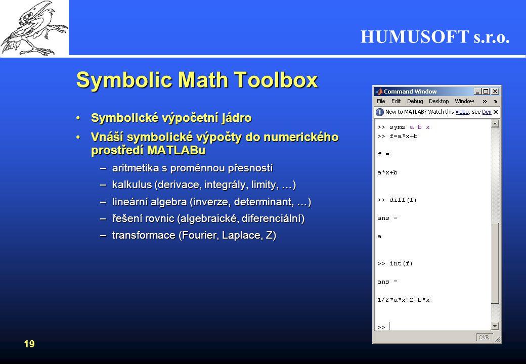 Symbolic Math Toolbox Symbolické výpočetní jádro