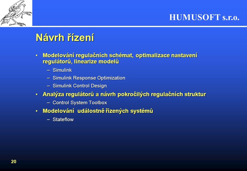 Návrh řízení Modelování regulačních schémat, optimalizace nastavení regulátorů, linearize modelů. Simulink.