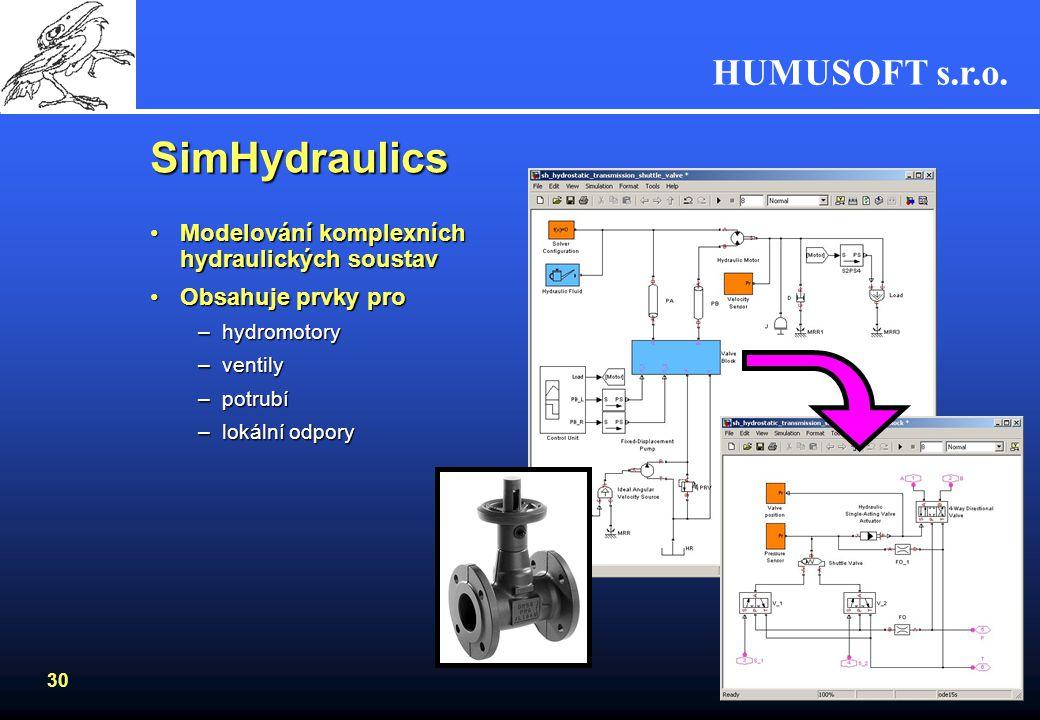 SimHydraulics Modelování komplexních hydraulických soustav
