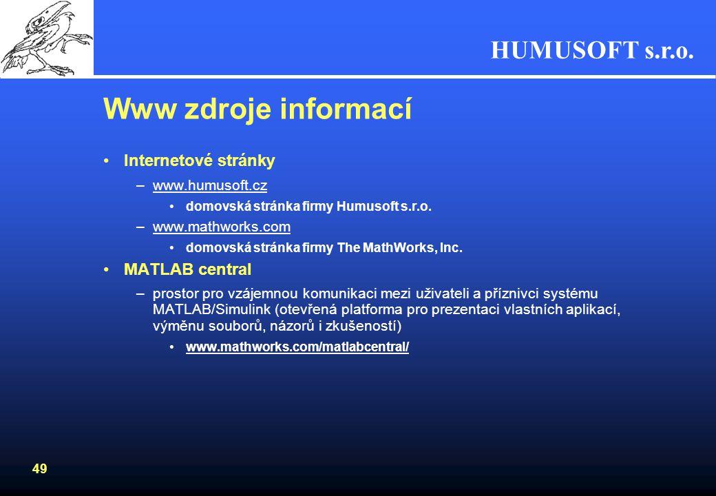 Www zdroje informací Internetové stránky MATLAB central