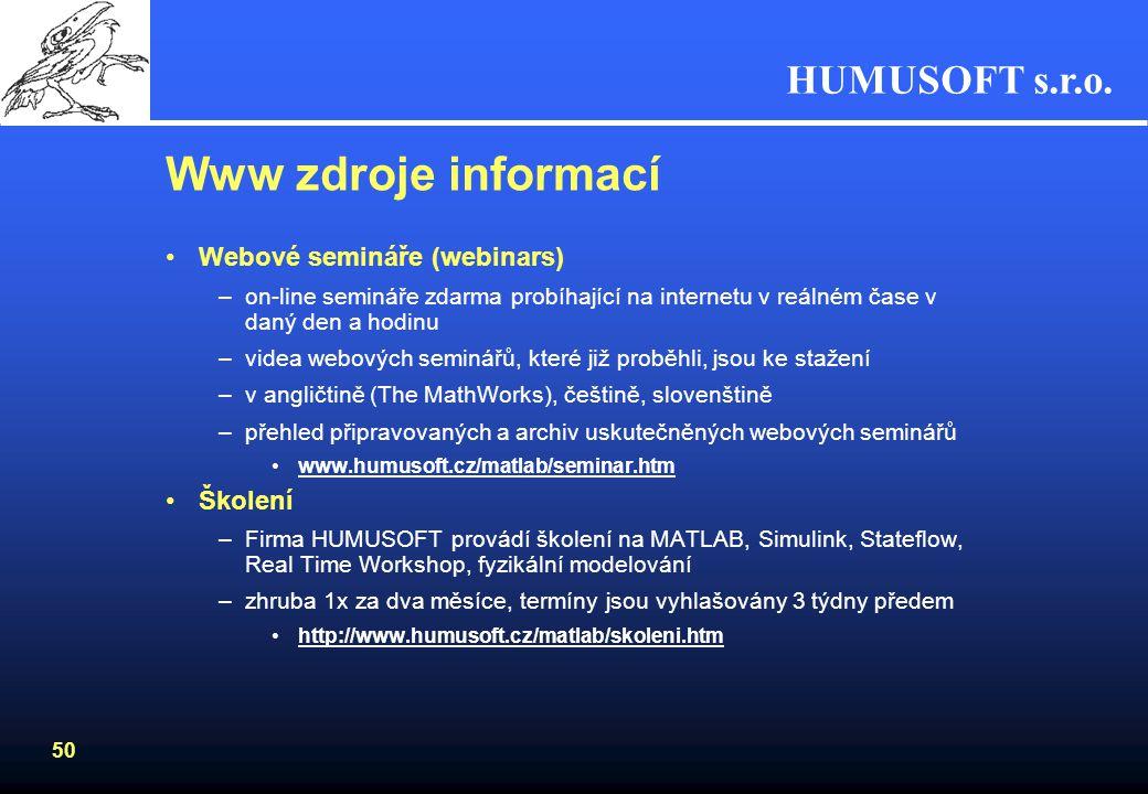 Www zdroje informací Webové semináře (webinars) Školení