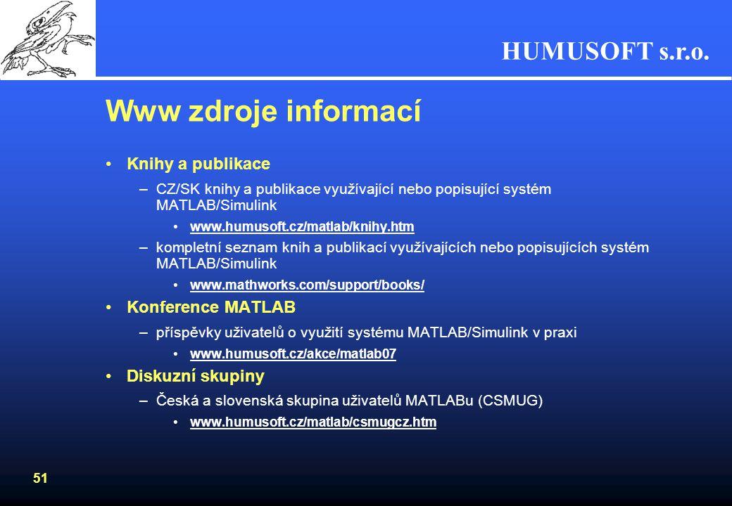 Www zdroje informací Knihy a publikace Konference MATLAB