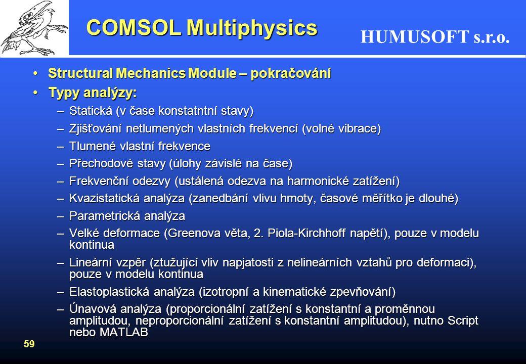 COMSOL Multiphysics Structural Mechanics Module – pokračování