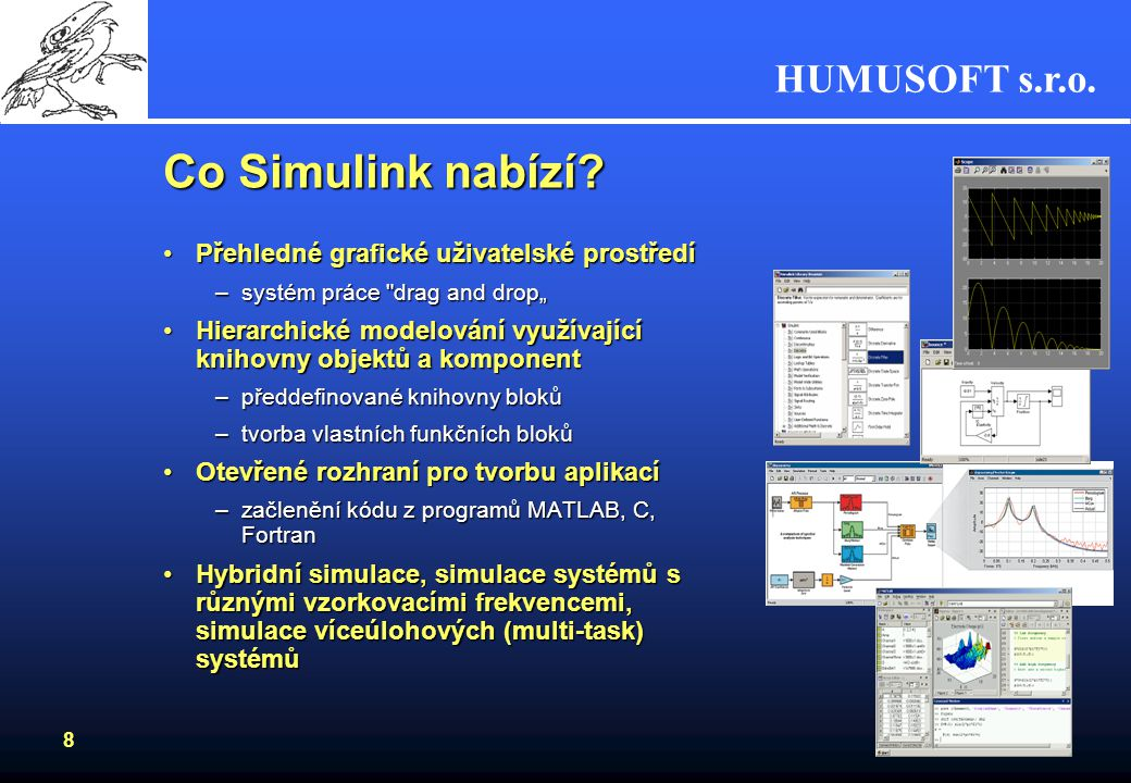 Co Simulink nabízí Přehledné grafické uživatelské prostředí