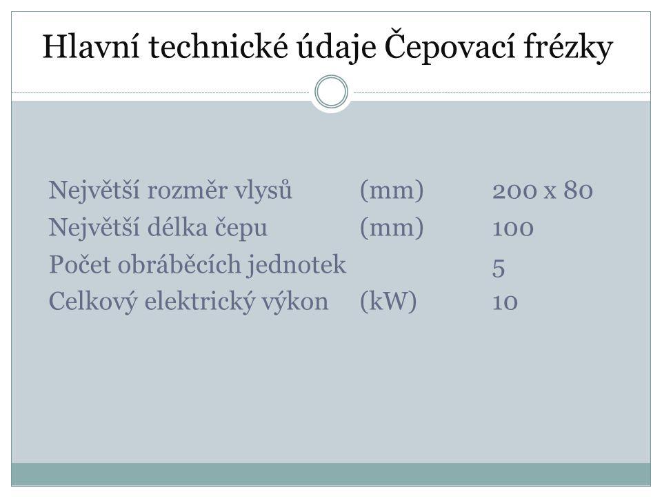 Hlavní technické údaje Čepovací frézky
