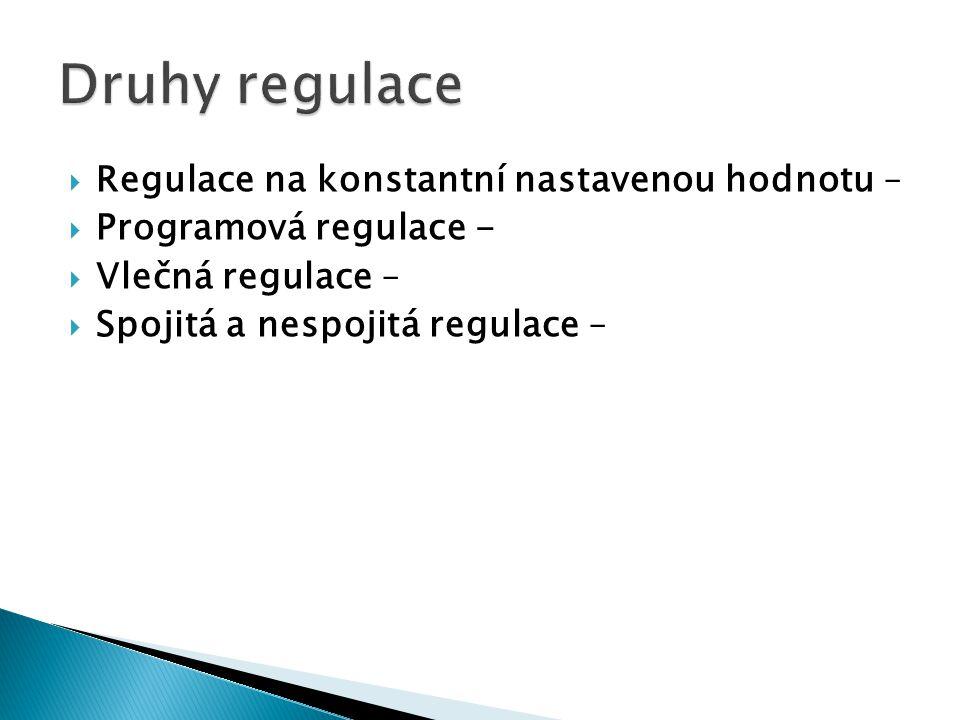 Druhy regulace Regulace na konstantní nastavenou hodnotu –