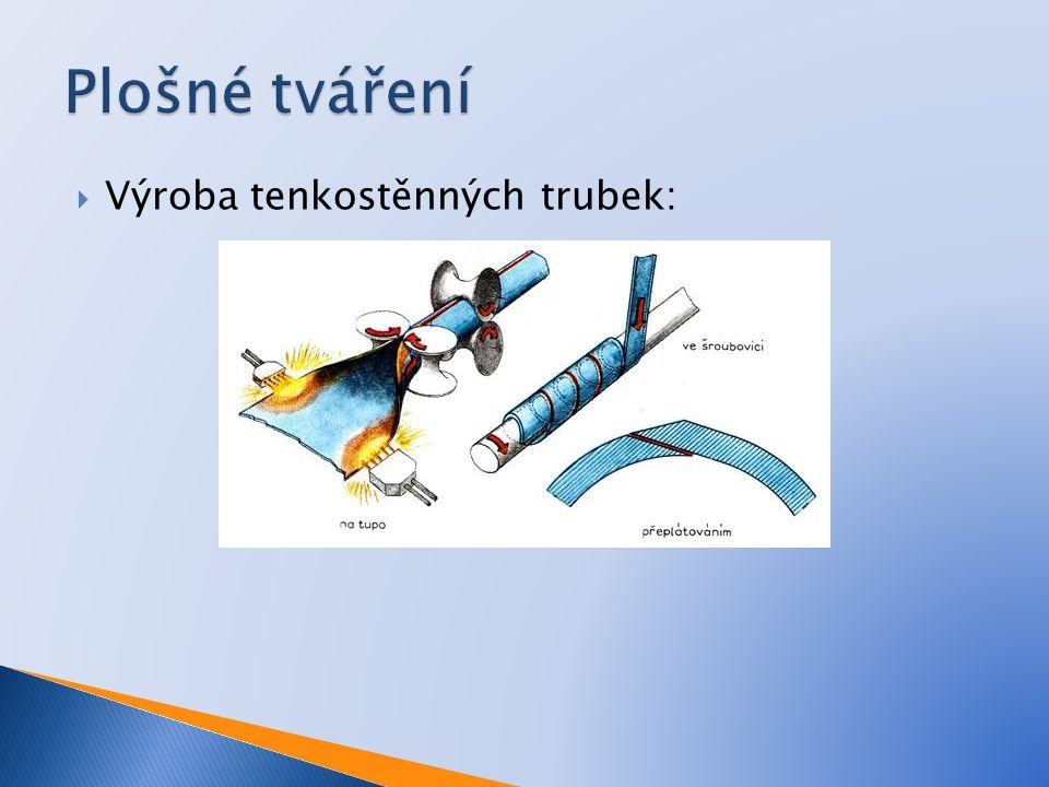 Plošné tváření Výroba tenkostěnných trubek: