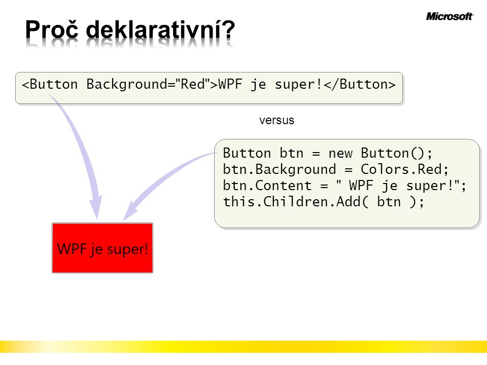 Proč deklarativní <Button Background= Red >WPF je super!</Button> versus. Button btn = new Button();