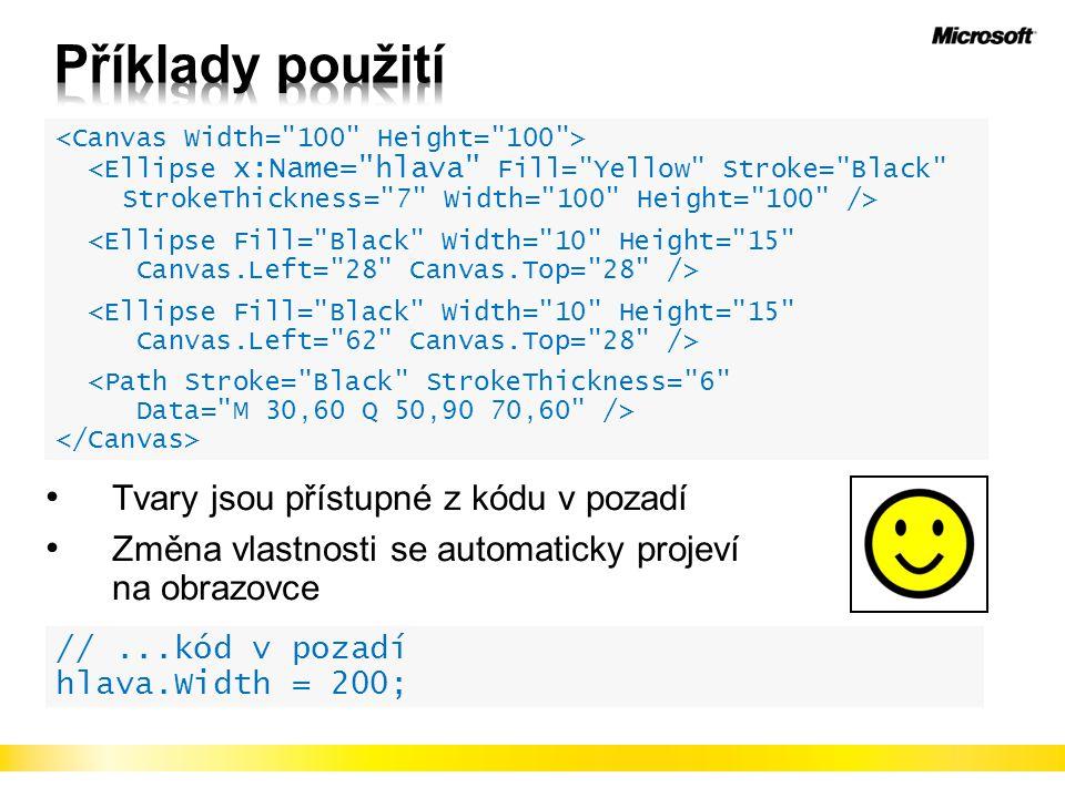 Příklady použití Tvary jsou přístupné z kódu v pozadí