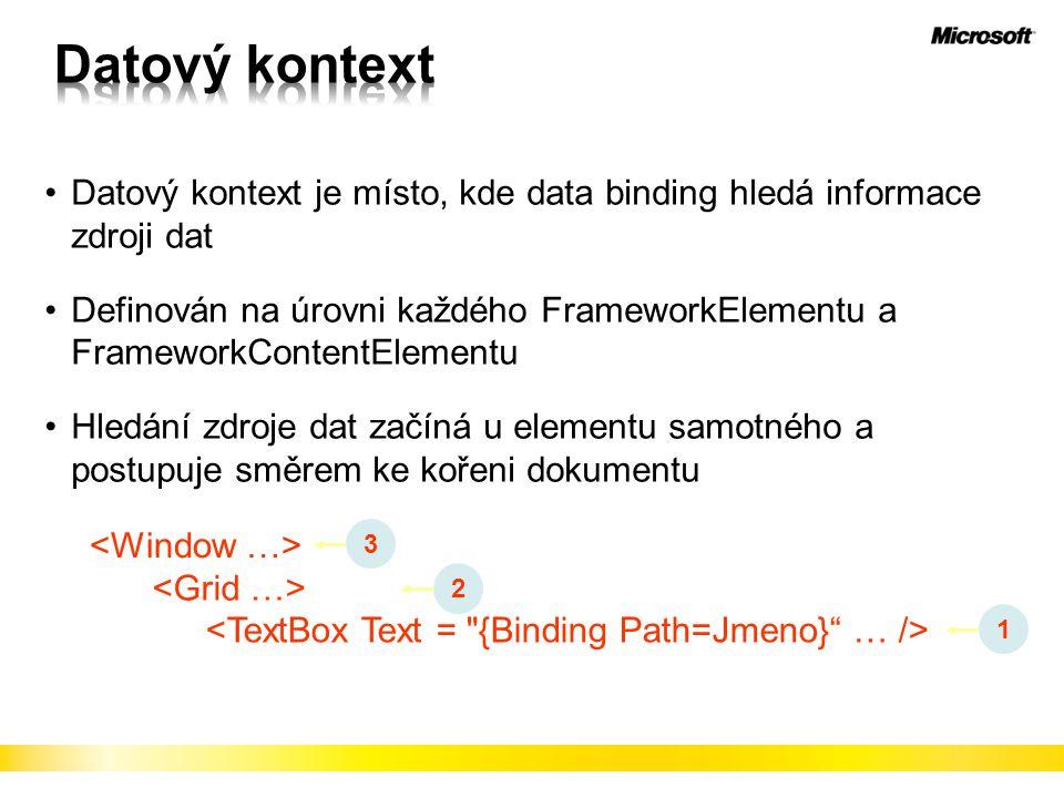 Datový kontext Datový kontext je místo, kde data binding hledá informace zdroji dat.