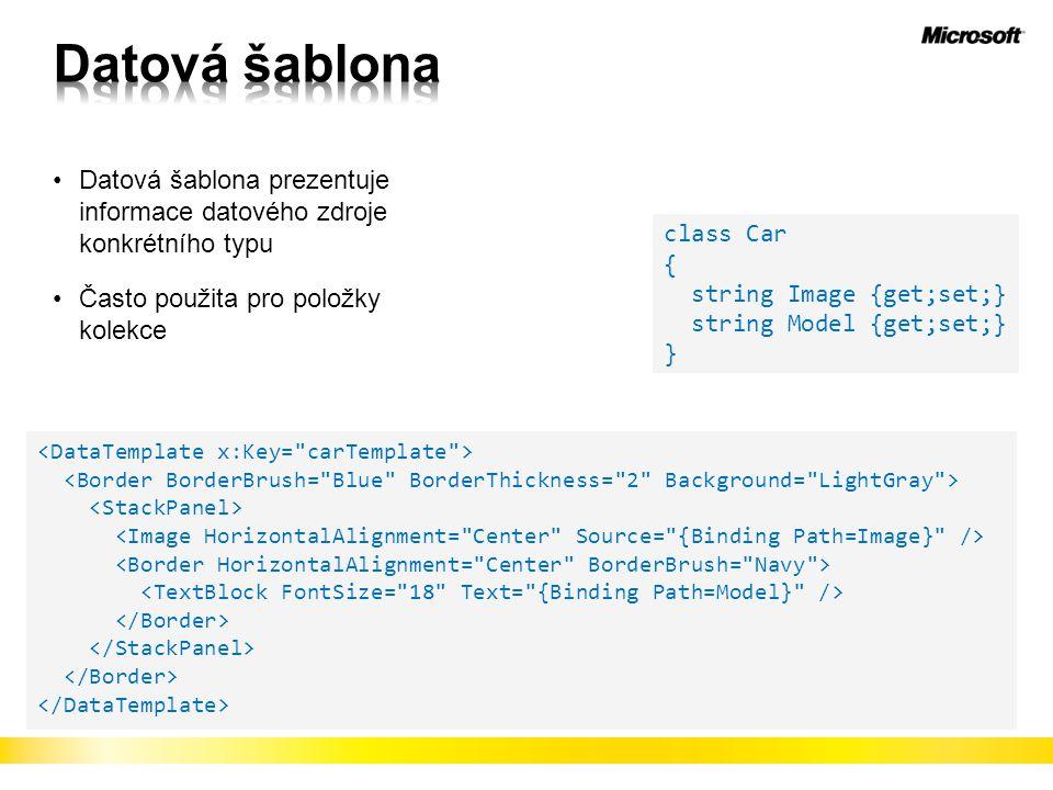 Datová šablona Datová šablona prezentuje informace datového zdroje konkrétního typu. Často použita pro položky kolekce.