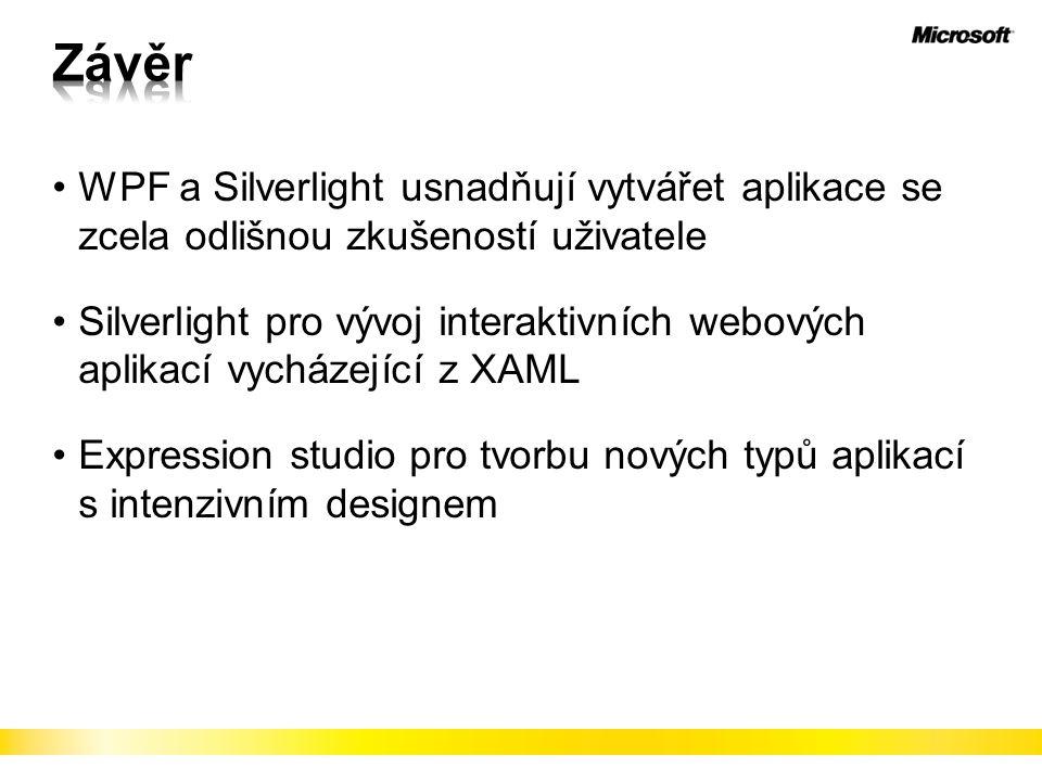Závěr WPF a Silverlight usnadňují vytvářet aplikace se zcela odlišnou zkušeností uživatele.