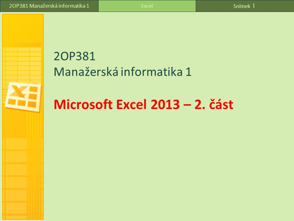 2OP381 Manažerská informatika 1 Microsoft Excel 2013 – 2. část