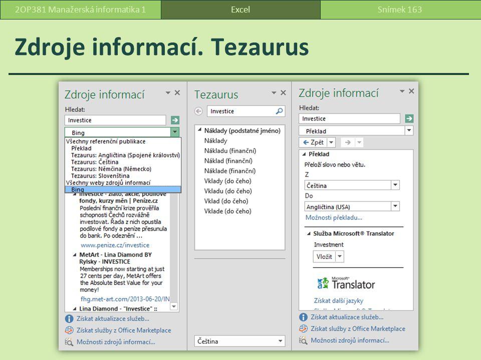 Zdroje informací. Tezaurus