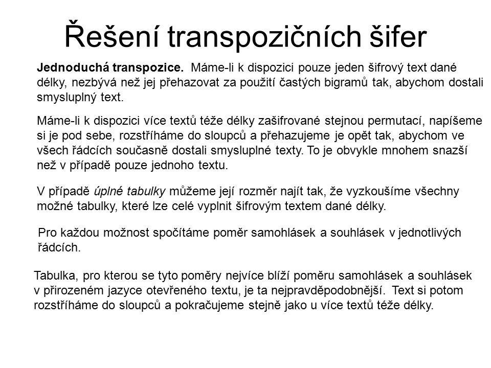 Řešení transpozičních šifer