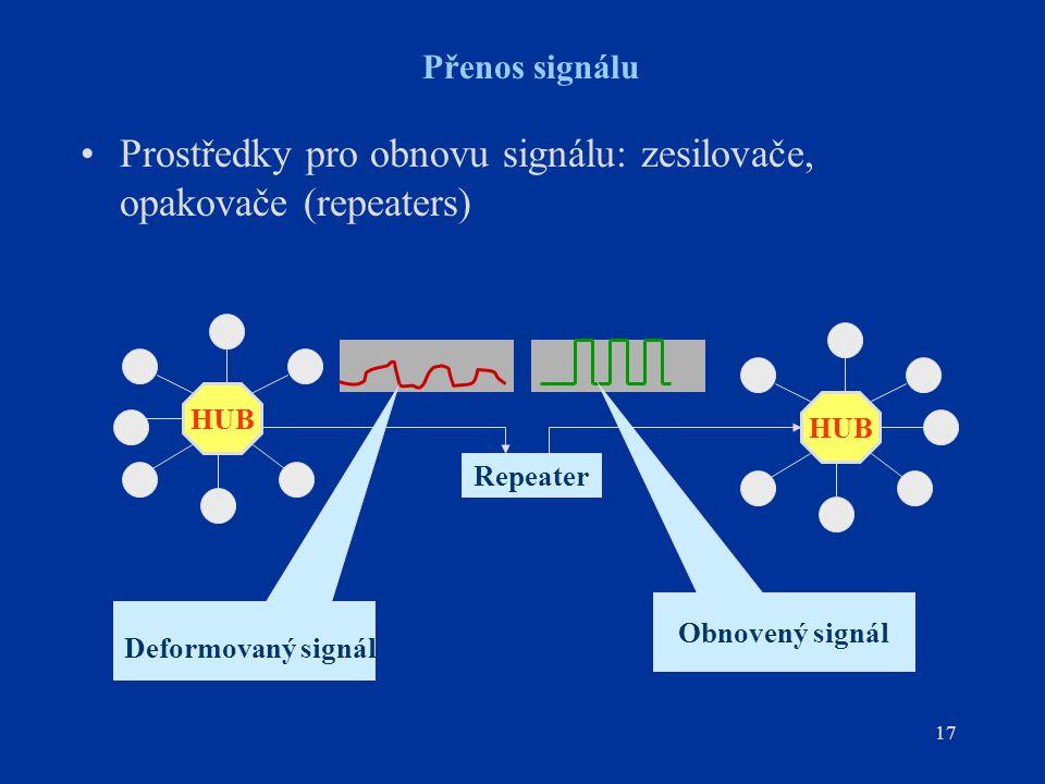 Prostředky pro obnovu signálu: zesilovače, opakovače (repeaters)