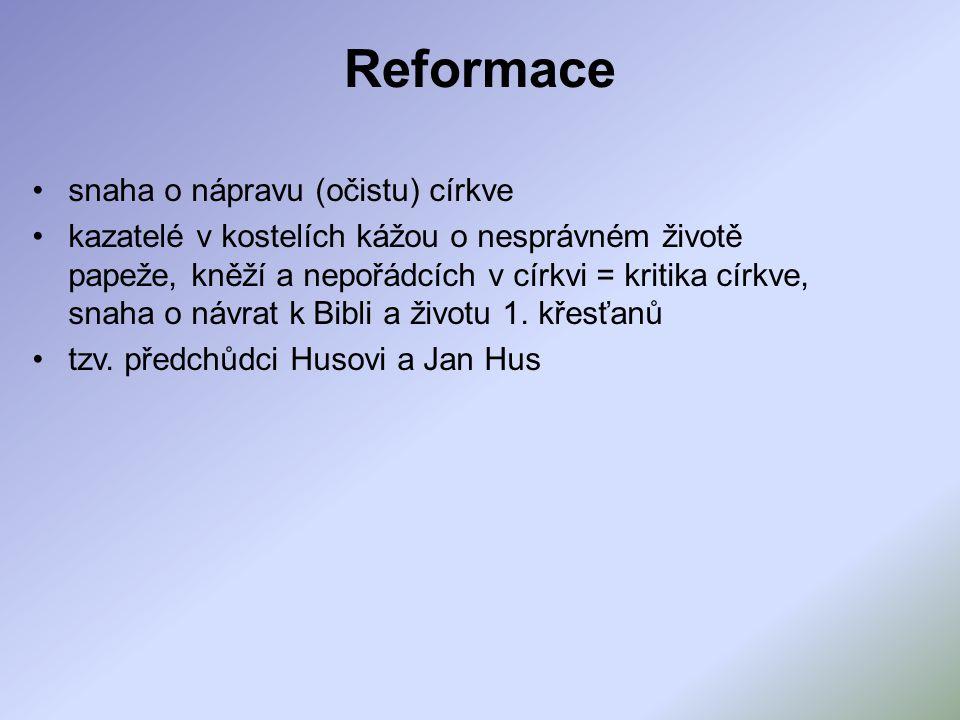 Reformace snaha o nápravu (očistu) církve