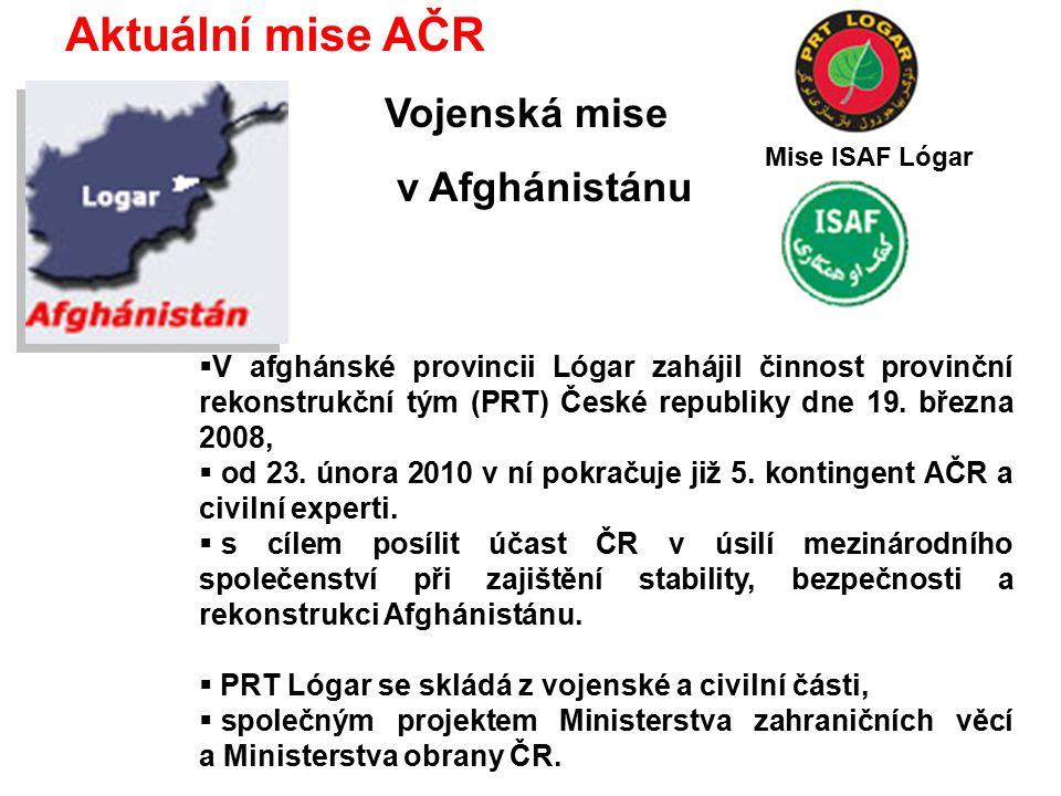 Aktuální mise AČR Vojenská mise v Afghánistánu