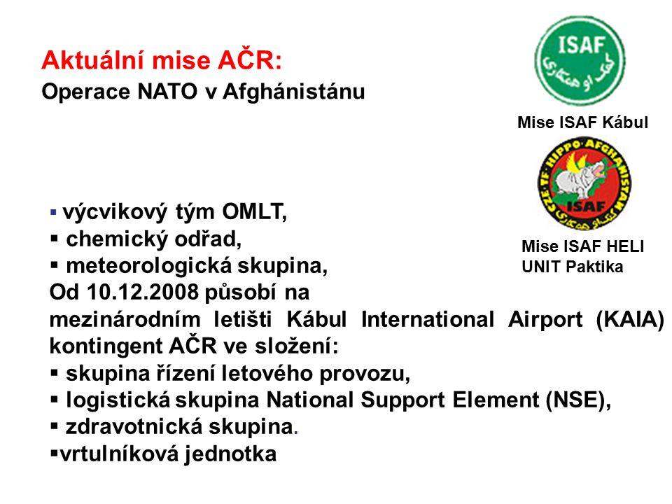 Aktuální mise AČR: Operace NATO v Afghánistánu chemický odřad,