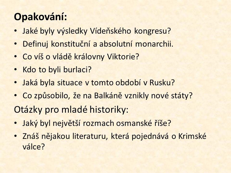 Opakování: Otázky pro mladé historiky: