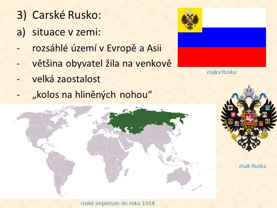 Carské Rusko: situace v zemi: rozsáhlé území v Evropě a Asii