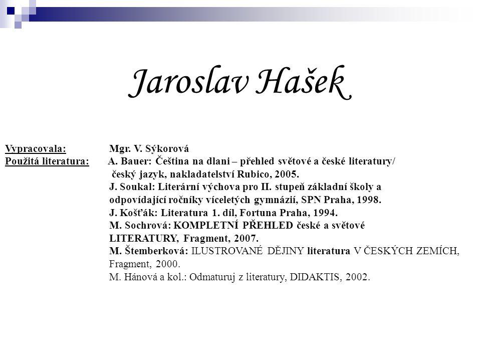 Jaroslav Hašek Vypracovala: Mgr. V. Sýkorová